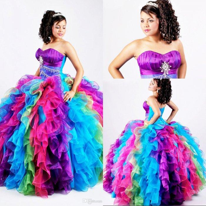2015 Ball Gown Rainbow Quinceanera Dresses Puffy Organza