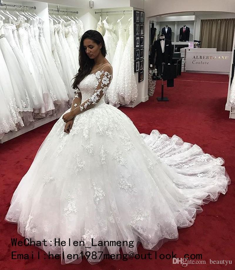 Nigerian Lace Ball Gown Wedding Dresses Long Sleeve Sheer Neck Corset White Tulle Court Train Plus Size 2018 Arabic Modest Bridal Gowns