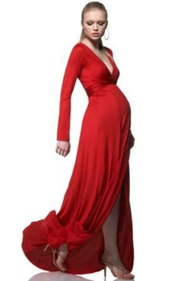 Elegante vestidos de noche de maternidad elegante Vestido de la vaina Empire Profundo V Batas de baile con mangas largas Embarazadas Formal fiesta fiesta división