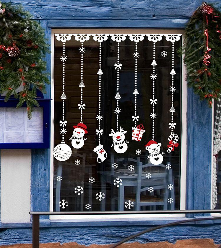 Adesivi murali Natale fai da te ornamento pupazzo di neve decorazione del PVC calzino Gift Box Finestra adesivi murali smontabile della parete del vinile decalcomanie della decorazione di natale