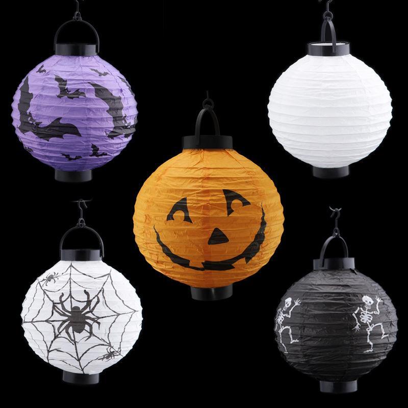 12pcslots halloween decorations led pumpkins lantern jack skeletons spiders bats haunted house props halloween supplies kids gift