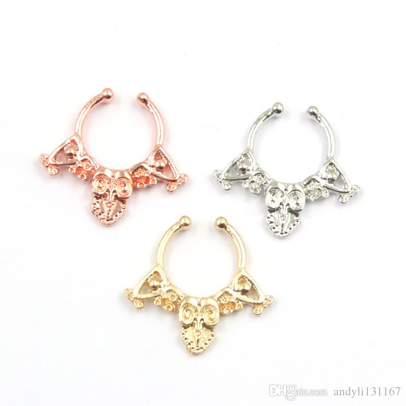 Mixed fake septum Body Hoop jewelry alloy silver and rose gold fake septum piercing nose ring women N0068
