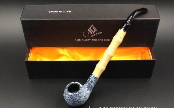 Premier pattern extended edition wooden pipe, wholesale glass bong, glass hookah accessories, color random delivery, large be