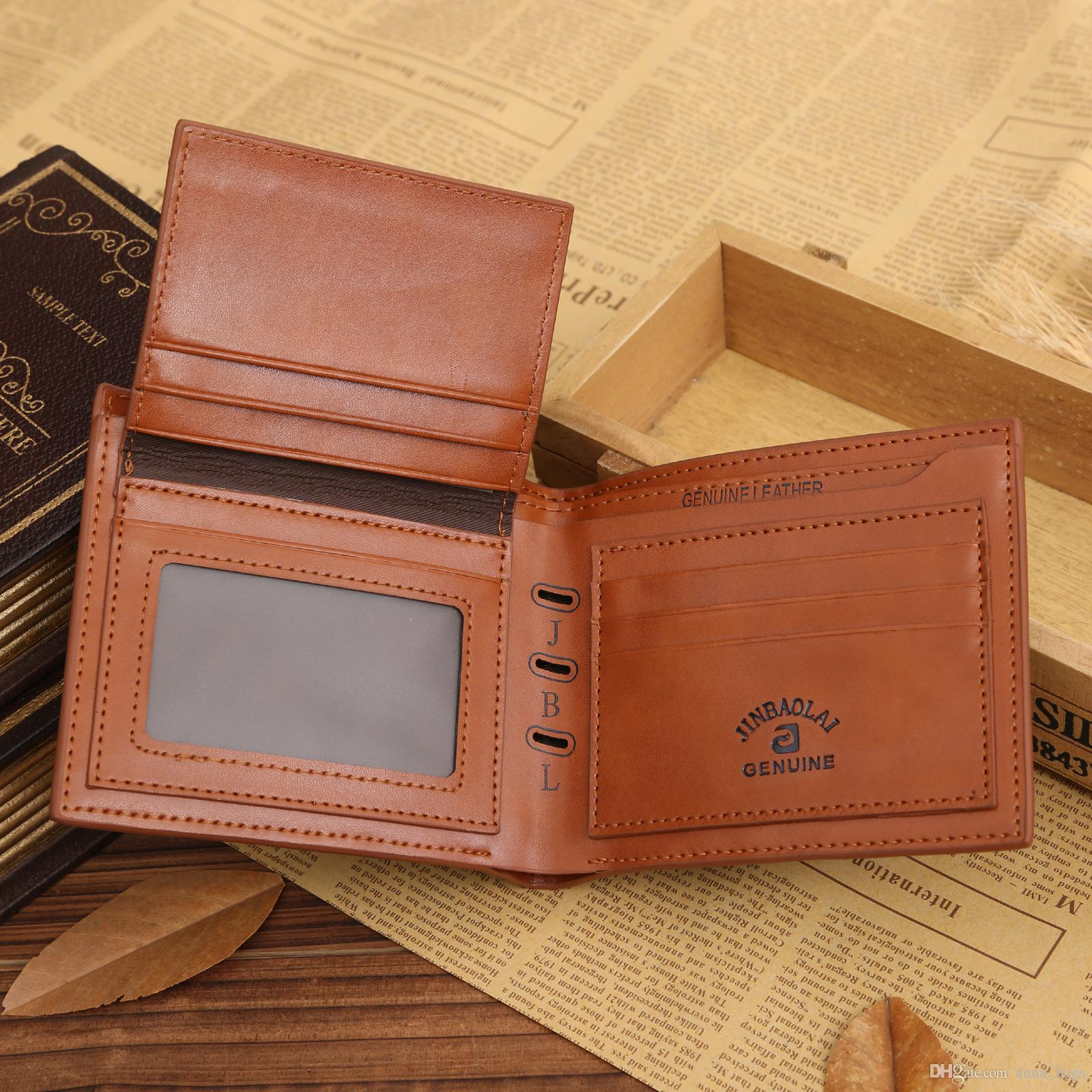 fashion short purse photo card holder business style multifunctional bifold tree veins men pu leather designer wallet