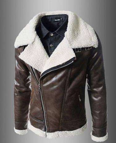 2014 New Arrivals Mens Brown Lamb Big Collar Leather Jacket Mens Cardigan  Sweater Men Business Suits Jacket Jacket Hockey Cbj From Victoriana ee3c79c50adb
