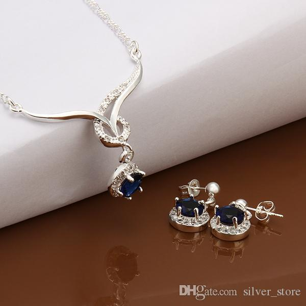High grade 925 sterling silver Animal Set - Blue jewelry sets DFMSS597 brand new brand new Factory direct sale wedding necklace earring