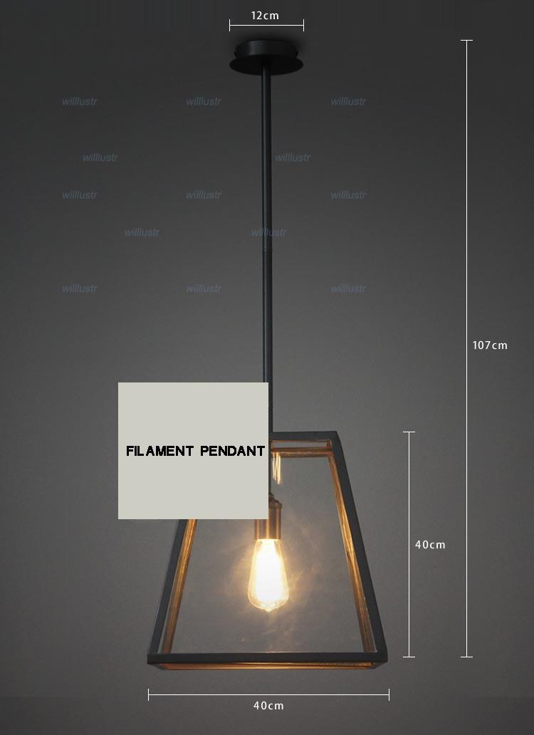 RH الإضاءة استعادة الأجهزة خمر قلادة مصباح خيوط قلادة اديسون لمبة زجاج مربع RH لوفت