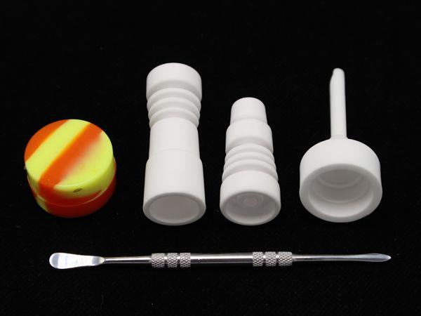 5 In 1 Bongs Tool Set Met Keramische Carb Cap 14mm 19mm Mannelijke Vrouwelijke Joint Ceramic Nail Dabber Tool Slicone Jar DAB Container