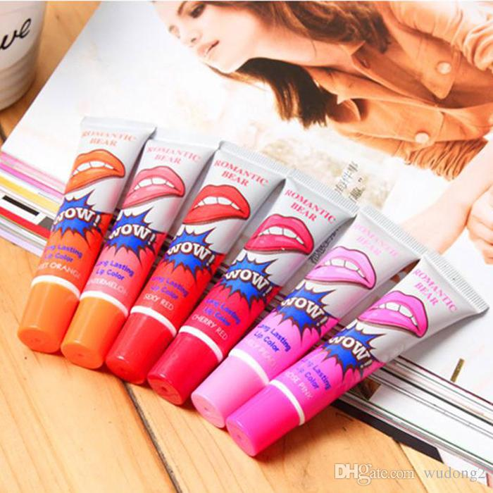 2016 Lip Gloss Peel-off Lasts For 24h No Stain Marine Collagen Lipstick Balm Plant Romantic Bear 6 Colors Makeup Moisturizing