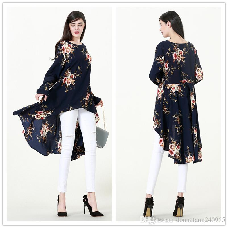 9144becf1c150 2019 Fashion Women Lady Muslim Loose T Shirt Top Dress Islamic Long Sleeve  Floral Printed Maxi Short Kaftan Abaya Arab Clothes From Donnatang240965