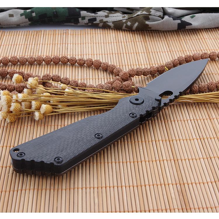 Cuchillo plegable original de 9 pulgadas Hoja D2 Cuchillo de bolsillo con cuchilla de fibra de carbono + Mango de supervivencia TC4 Cuchillo de bolsillo EDC