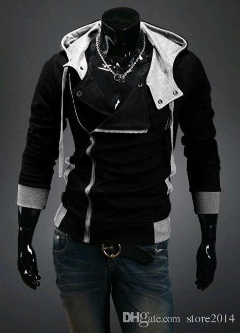 2015 invierno NUEVA Hombres Delgado Sombrero Personalizado Diseño Hoodies Sudaderas Jacket Sweater Assassins Creed Coat