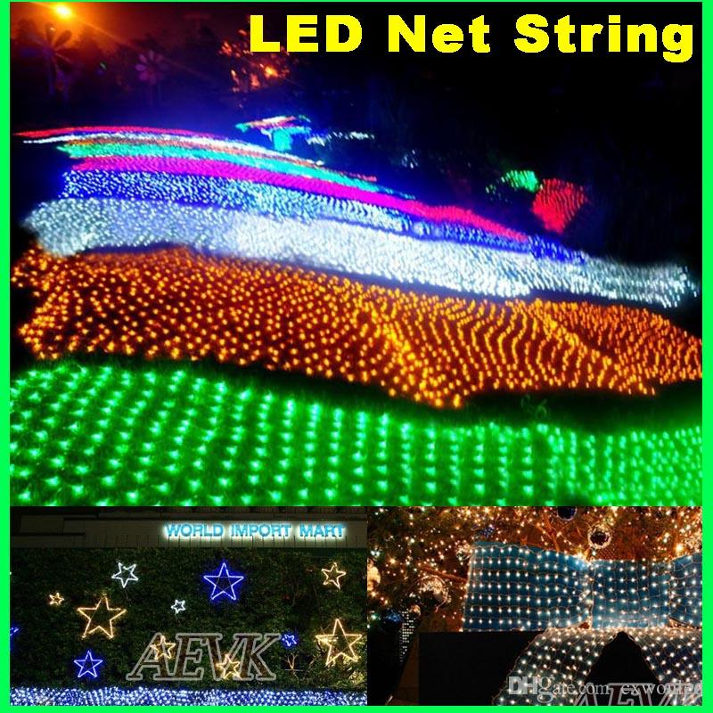 led net string lights christmas outdoor waterproof net mesh fairy light 2m3m 4m6m wedding party light with 8 function controller led patio string lights