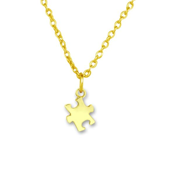 Wholesale Zinc Alloy 18k Gold Plated Autism Puzzle Piece Men Jewelry