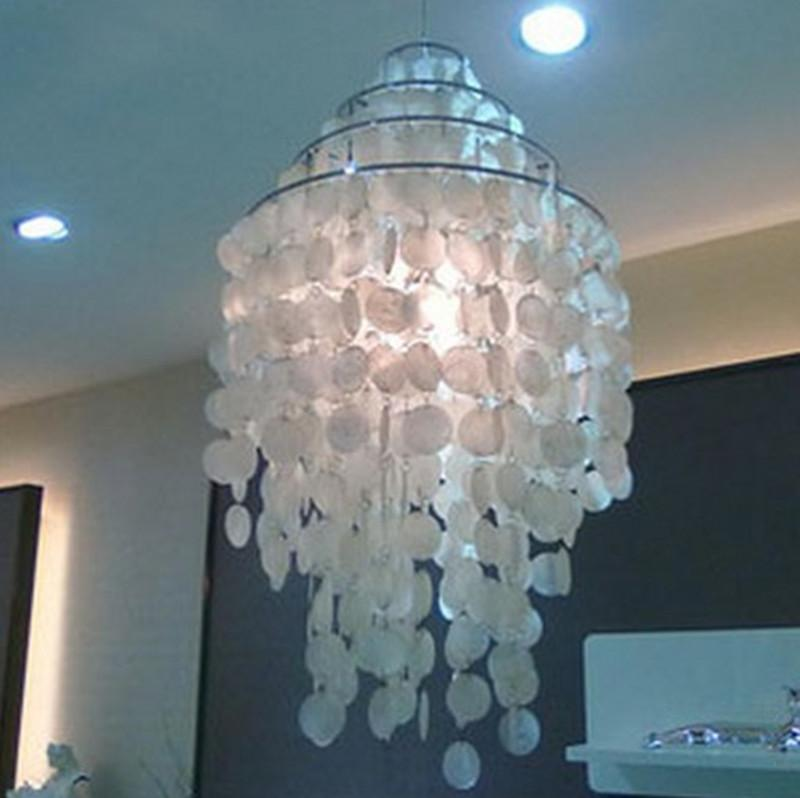 Modern chandelier light verner panton fun chandelier light 3 circle diy sea shells pendant lamp suspension lighting led crystal hanging lamp string pendant