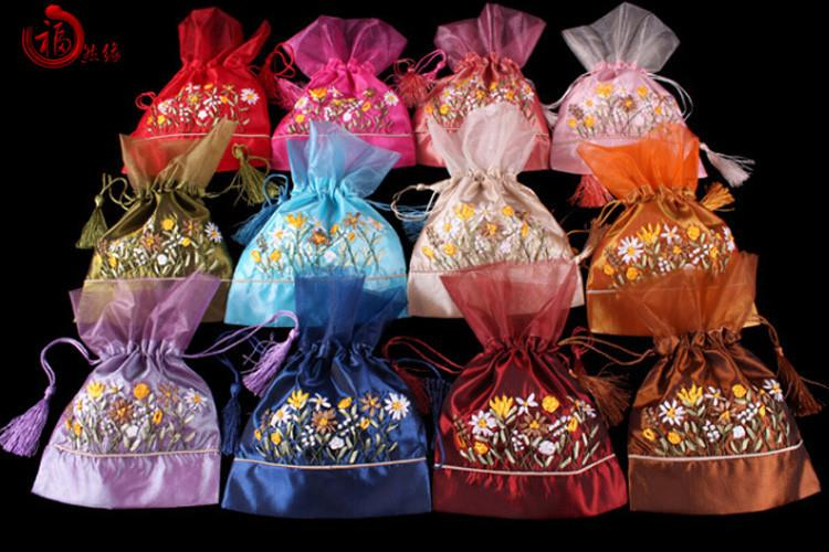 Pretty Organza Hand Ribbon Embroidery Party Gift Bags Drawstring