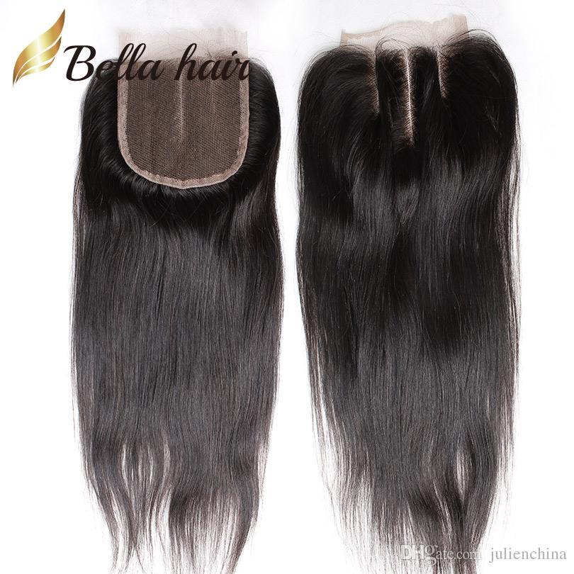 4 * 4 مستقيم أعلى إغلاق HD / متوسطة الدانتيل البني اللون الطبيعي البرازيلي بيرو الشعر البشري