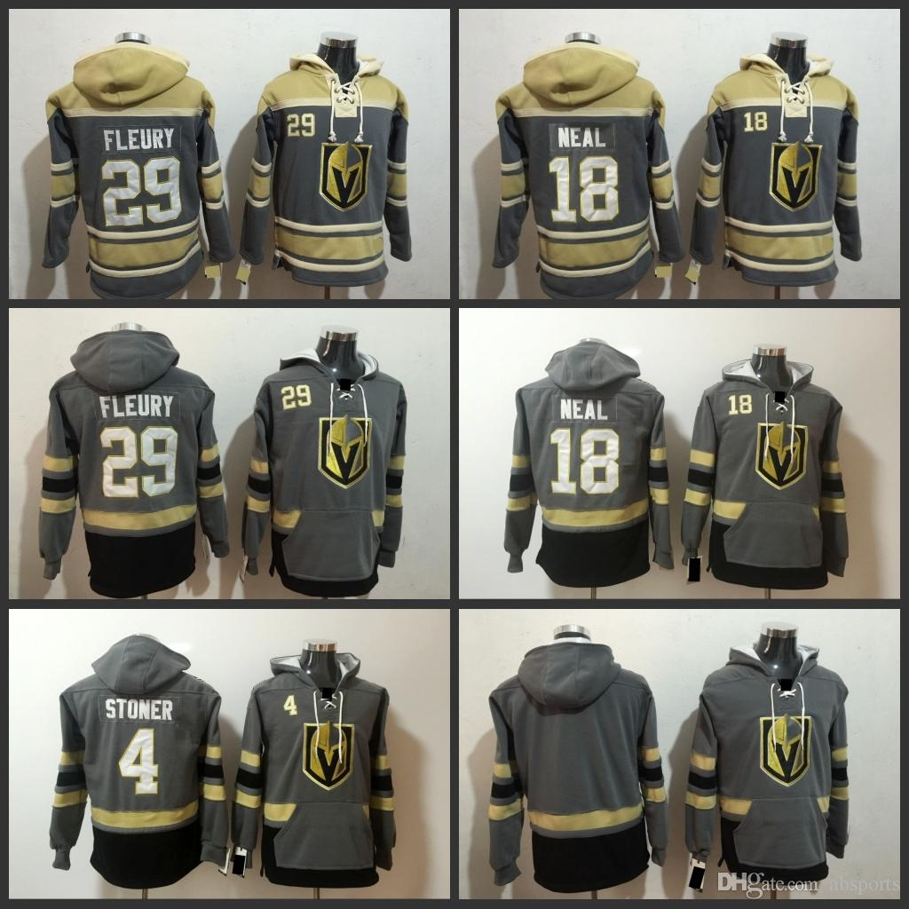 bcdb2b862 2019 Vegas Golden Knights Mens 2017 2018 Grey Old Time Hockey Hoodies 29  Marc Andre Fleury 18 James Neal 4 Clayton Stoner Hockey Jerseys From  Absports