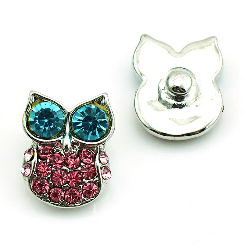High Quanlity Noosa 18mm Snap Buttons Charms Rhinestone Owl Ginger Clasps Interchangeable DIY Jewelry Accessories NKC0041