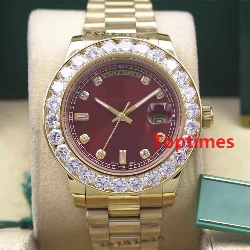 Hommes de luxe en or jaune automatique Iced Out Watch Mens Watch Daydate Président montre-bracelet Red Business Reloj Big Diamond Montres Hommes