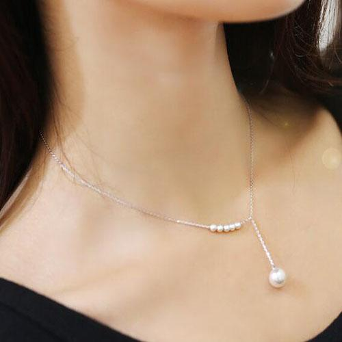 Wholesale sterling silver imitation pearls necklace for women simple wholesale sterling silver imitation pearls necklace for women simple fashion short necklaces pendants sterling silver jewelry mom pendant necklace pearl aloadofball Image collections