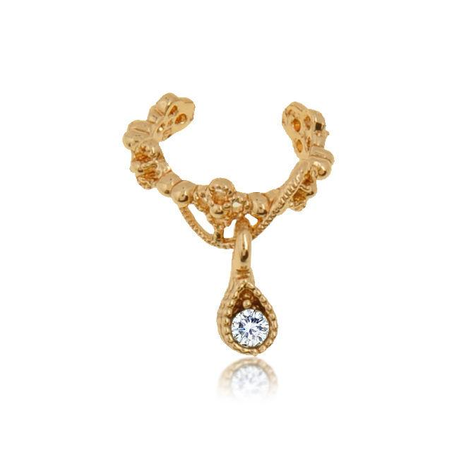 Fashion Jewelry clip di orecchini in oro placcato nastro fascini dell'orecchio del polsino dell'orecchio dell'involucro punk gocce auricolari strass Cartilagine Clip su Orecchini non Piercing