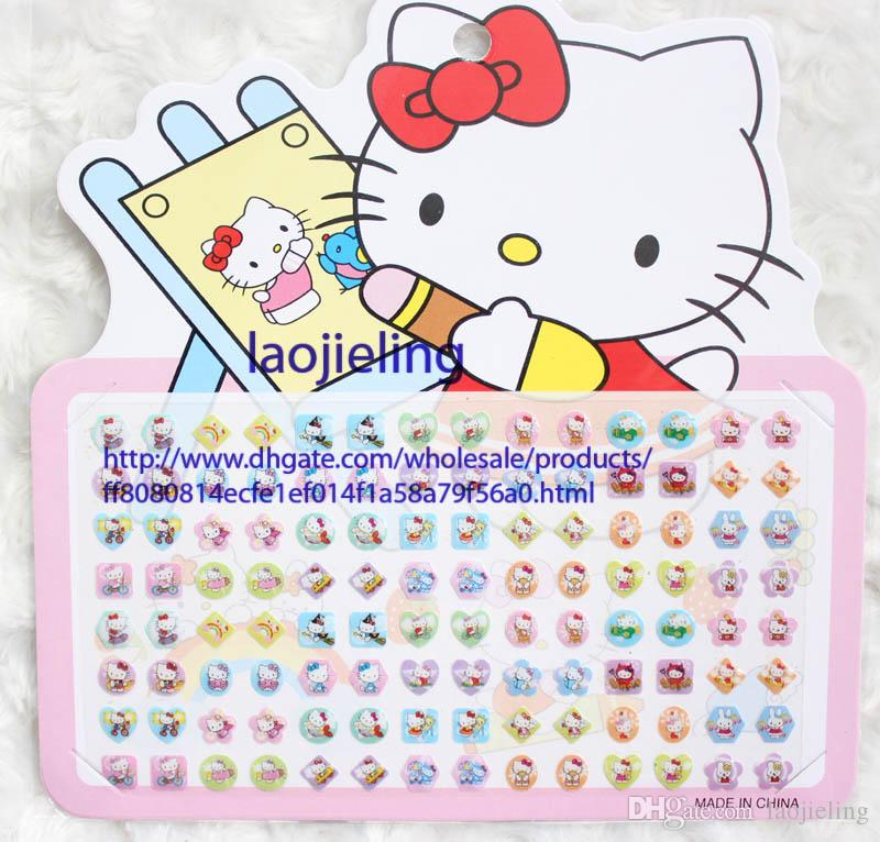 wholesale 24 sheets of girl stick on earrings hello kitty stickers stick on ring stickers home decals home decor decals from laojieling dhgatecom