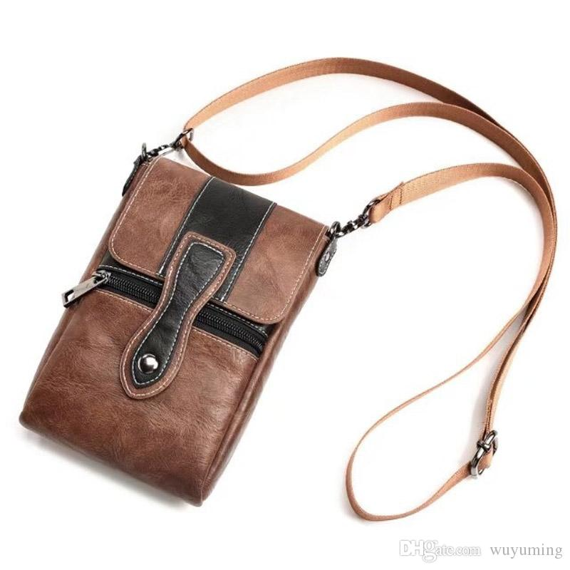 6.3 inch Universal Waist Bags Fashion Men Casual Leather Shoulder Pocket PU Pouch Crossbody Bags Male Mobile Phone Bag