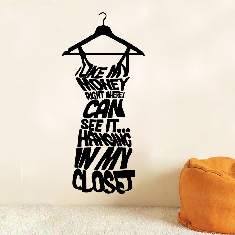 Etiqueta de la decoración de la pared de la pared de las mujeres negras de la moda --- AMOR MI DINERO MEDIA CITA CITA Decoración Arte del cartel para el guardarropa Decoración ADESIVO DE PARED