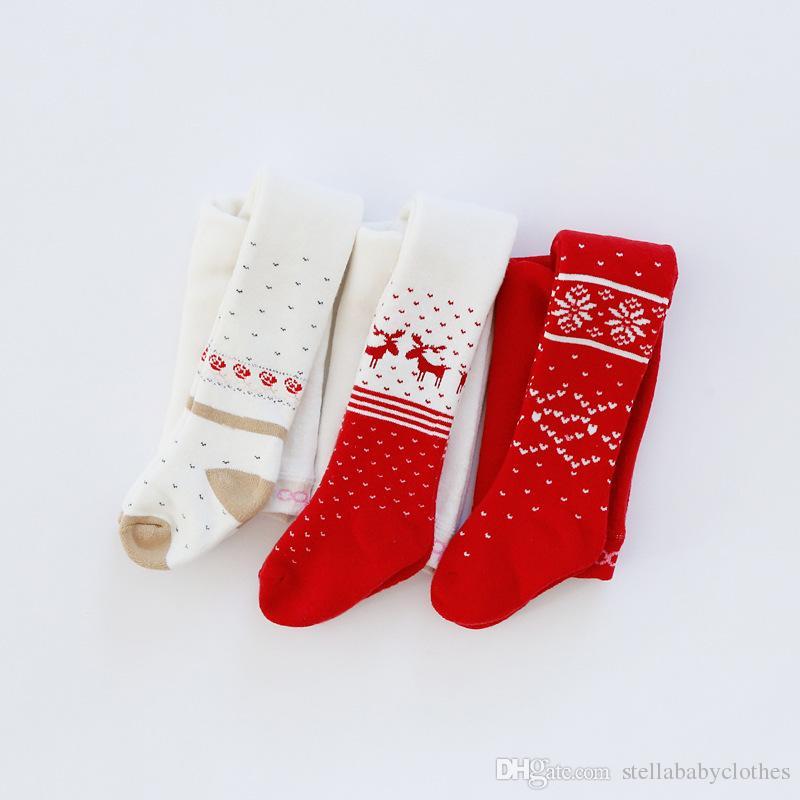 Moda autunno inverno caldo bootcut pantaloni elastici Natale rosso bianco alce stampa neonate calze calze spedizione gratuita