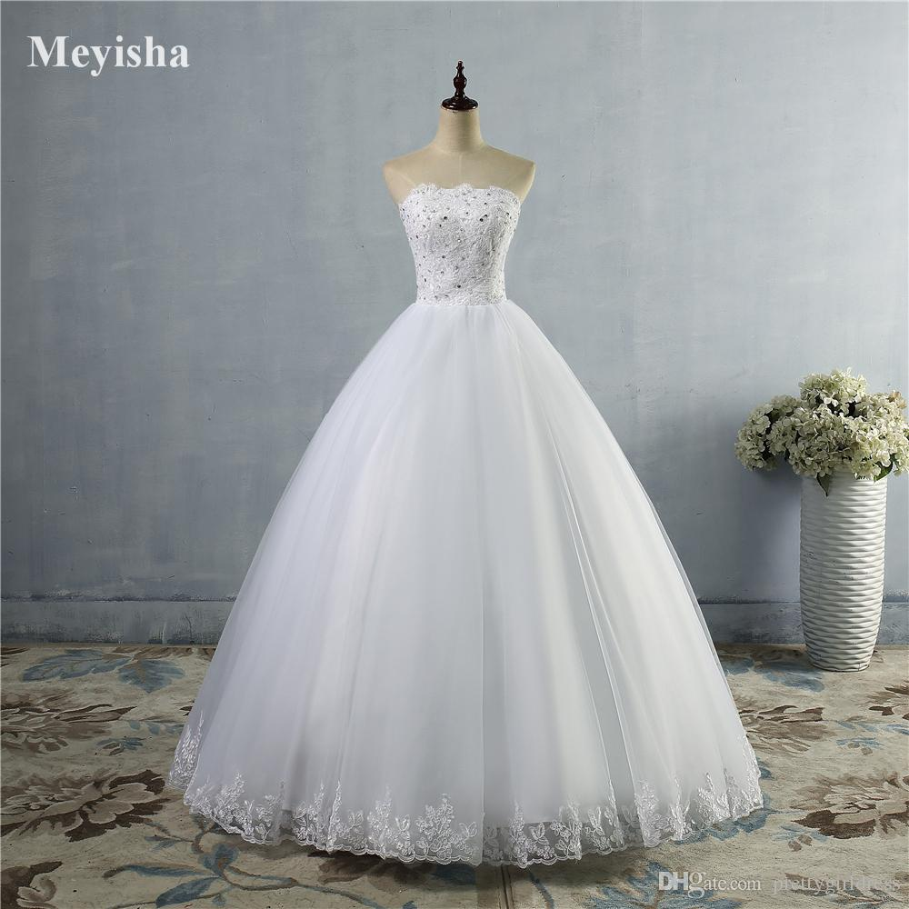 ZJ9061 2019 2020 parte inferior de encaje Vestido de marfil blanco con cordones en la espalda Vestidos de novia para el vestido de novia Vintage más el tamaño Hecho por el cliente