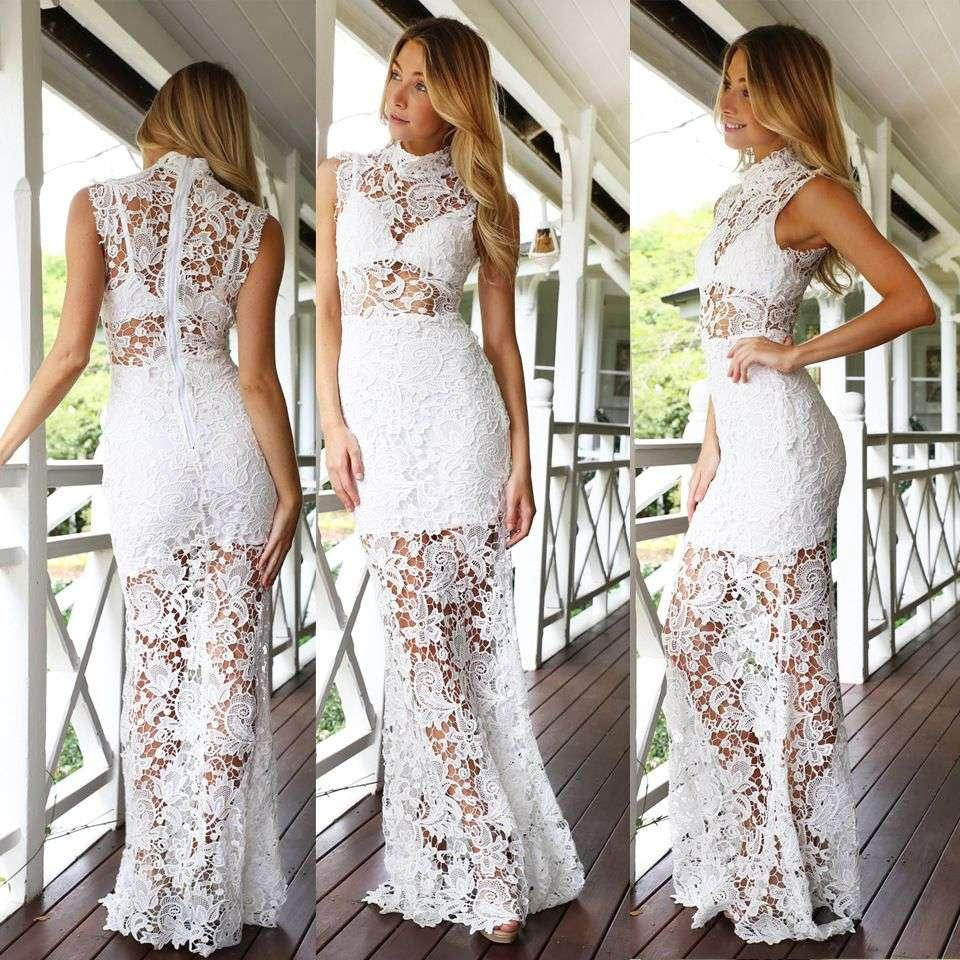 2015 Women Sexy Vintage hollow lace maxi dresses Ladies European style high sleeveless Fishtail white Black Red Prom Formal evening dress