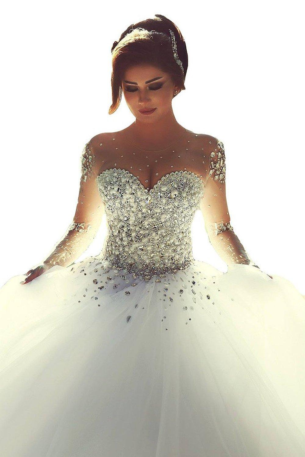 honeey girl gorgeous 2015 pearles beading long sleeves ball gowns sparkle crystal beaded wedding dresses for bride custom made bridal gowns wedding dresses