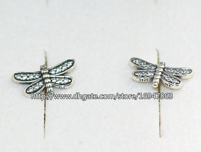 New 100% S925 Sterling Silver European Pandora Style Jewelry Sparkling Petite Dragonfly with Clear CZ Stud Earrings