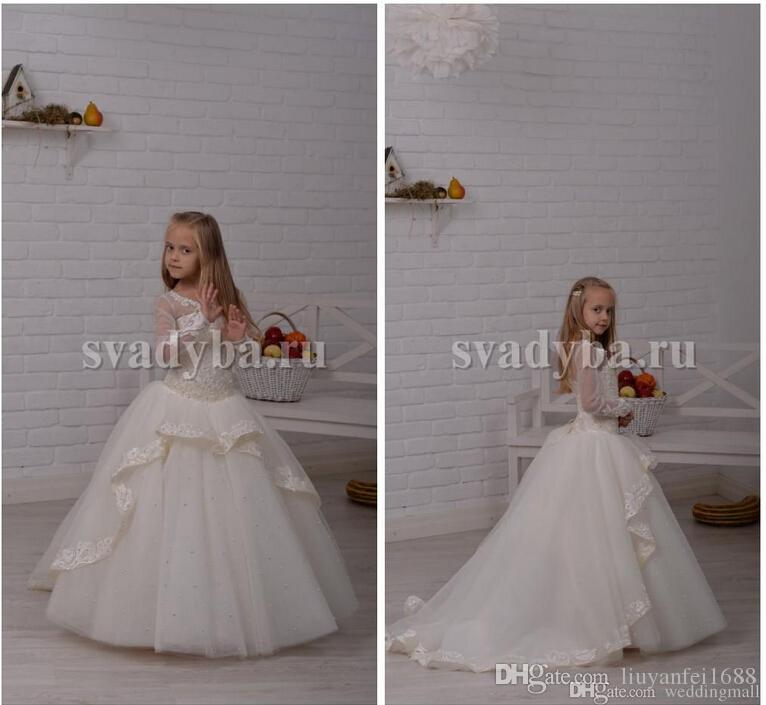 레이스 긴 소매 페르시 Tulle 볼 가운 아기 소녀 생일 파티 크리스마스 드레스 어린이 소녀 파티 드레스 꽃 파는 아가씨 드레스