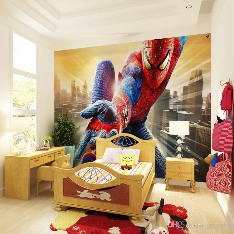 Custom marvel hero wall mural spiderman kids boys children for Decoration chambre spiderman