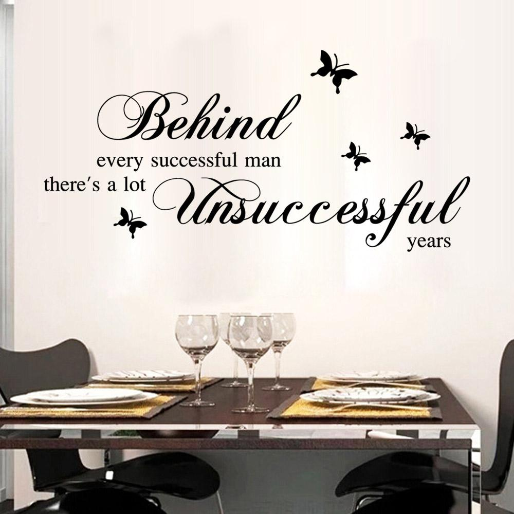 Black English Quote Wall Sticker Behind Every Successful Man Wall Stickers  Home Decor Art Decals For Study U0026 Living Room Cloud Wall Decals Cloud Wall  ...