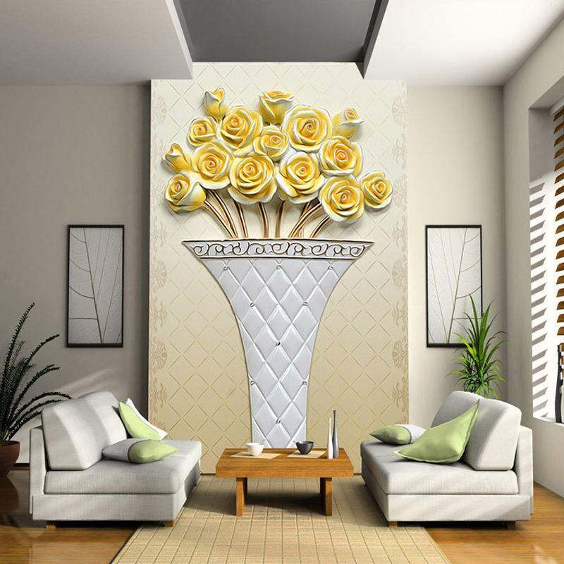 Custom Any Size 3d Wall Mural Wallpapers Living Room Sofa Entrance High  Definition Relief Simple Golden Rose 3d Photo Wallpaper It Hd Wallpapers  Kareena ... Part 80