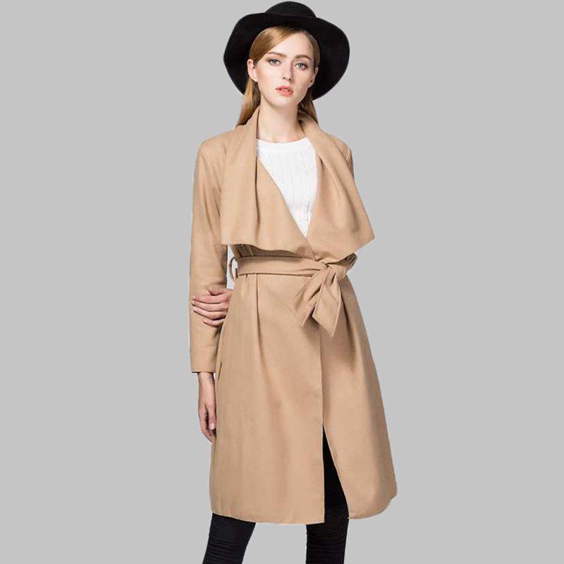2017 Otoño Trench Coat para Las Mujeres Sólido Turn-down Collar Abrigos de manga larga Ropa de mujer Casual Larga Mujer Windbreakers