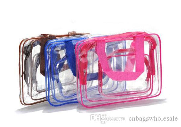 Travel clear PVC cosmetics organizer bag a set waterproof make up brushes storage zipper pouch