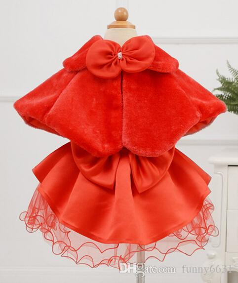 2015 crianças vestido acessórios de princesa Boleros de peles de flores xales Poncho da menina capa criança kid clothing 2 cores rosa frete grátis