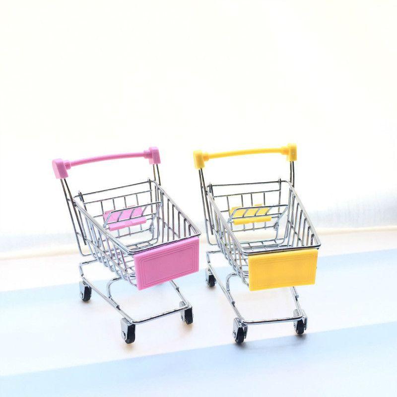Mini Supermarket Handcart Shopping Cart Utility Mode Storage Organizer Chidren Pretend Play Gift Kids Toy Christmas