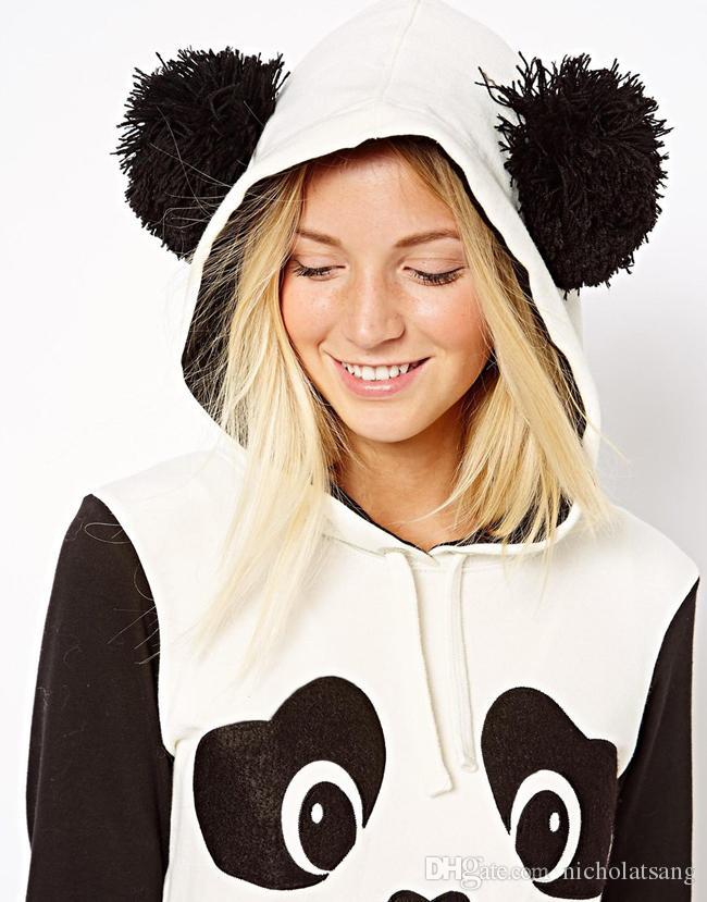 Brand Design para mujer de manga larga sudaderas con capucha negro con Cute Panda diseño y contraste Color Patchwork para la nave de la gota envío gratis