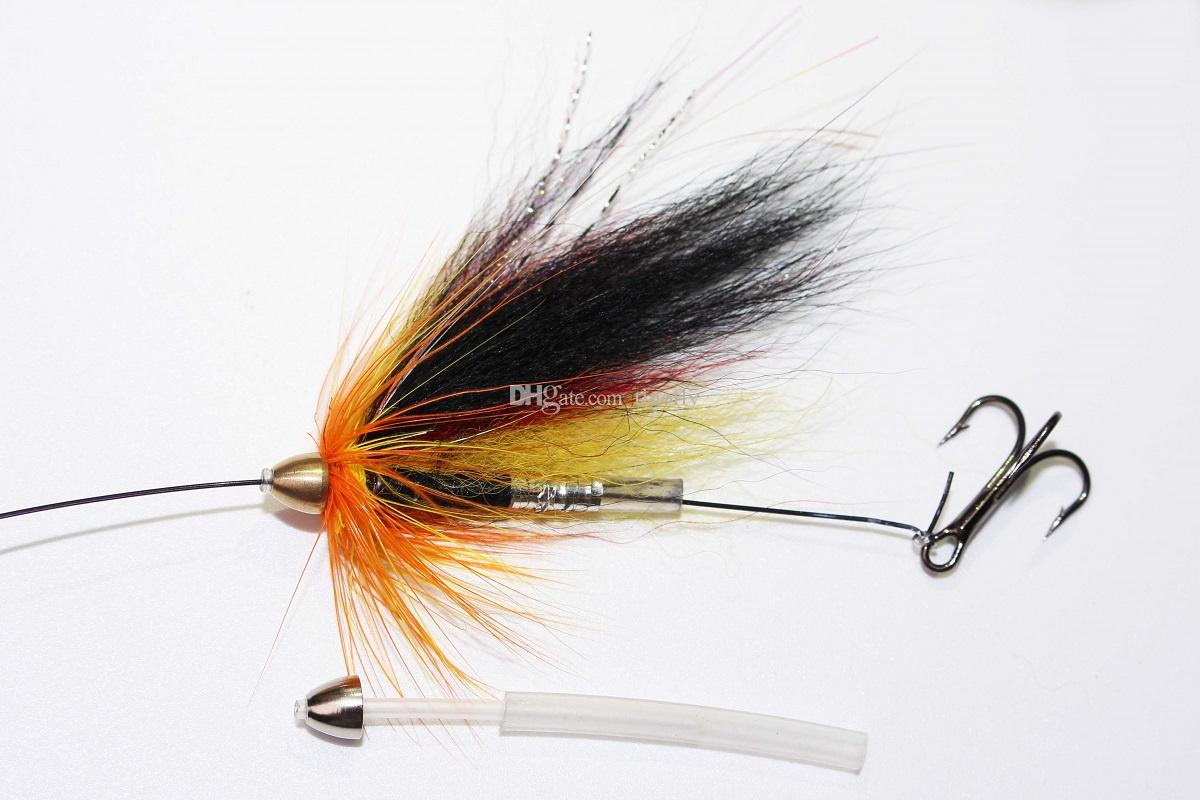 Tigofly Yellow&Black Feather Cone Head Tube Fly Streamer Fly Salmon Trout Steelhead Fly Fishing Flies Lures