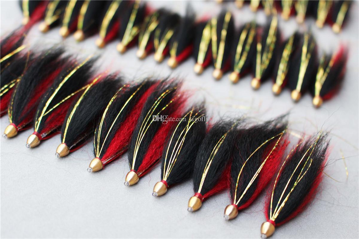 Tigofly 24 шт. / Лот RedBlack Перо Трубка с конусообразной головкой Fly Streamer Fly Лосось Форель Steelhead Fly Fishing Приманки мух