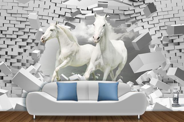 Non woven wallpaper horse 3d creative space mural - Papier peint chevaux pour chambre ...