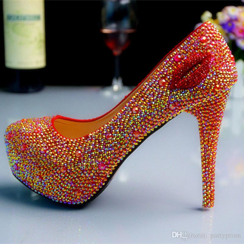 Fashion High Heels Bridal Shoes Rhinestones Red Lady Shoes for Wedding Party Ball Prom Pageant Event