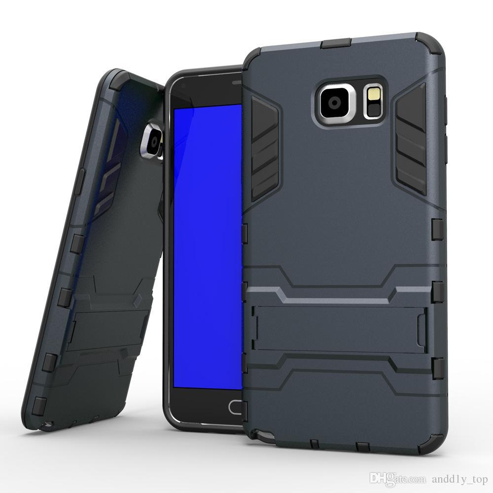 Defender Iron Man A prueba de golpes PC TPU Iron Man Hybrid Armor Stand Funda para Samsung Galaxy S6 Edge J5 J7 Moto G G2 LG G4 Note Huawei P8