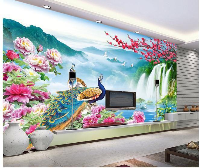 wallpaper mural wallpaper peacock landscape 3d wallpaper mural wall