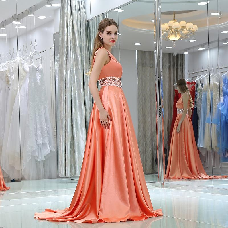 Orange A Line Long Formal Evening Dresses Deep V Neck Beading Backless Sleeveless Stain Prom Gown Custom Made Plus Size 16-B034